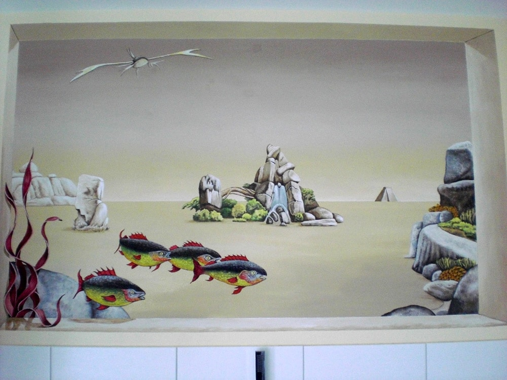 Badezimmer Emsland: Surreale Malerei im Stil Trompe-l´oeil