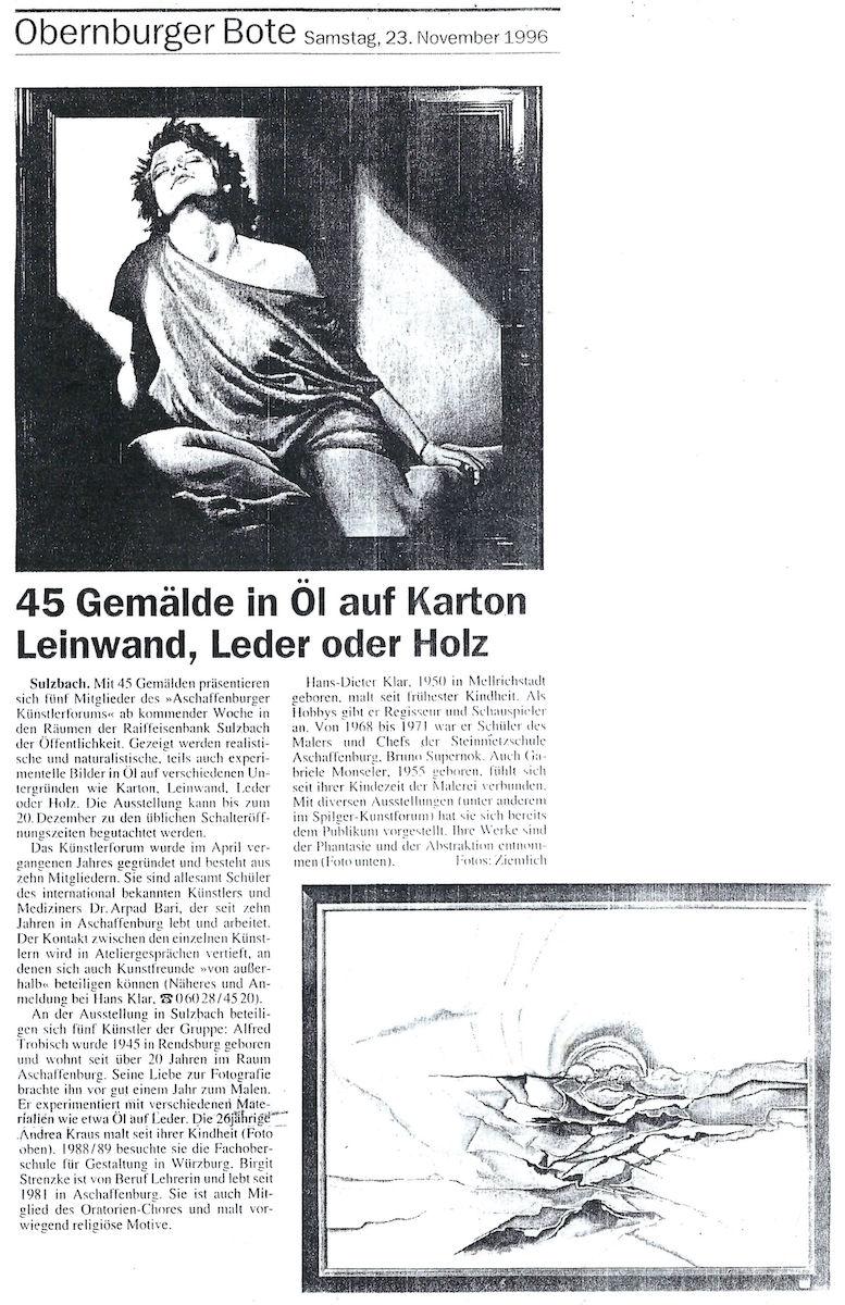 45 Gemälde in Öl auf Karton, Leinwand, Leder oder Holz (Andrea Kraus / Obernburger Bote / 23.11.1996)