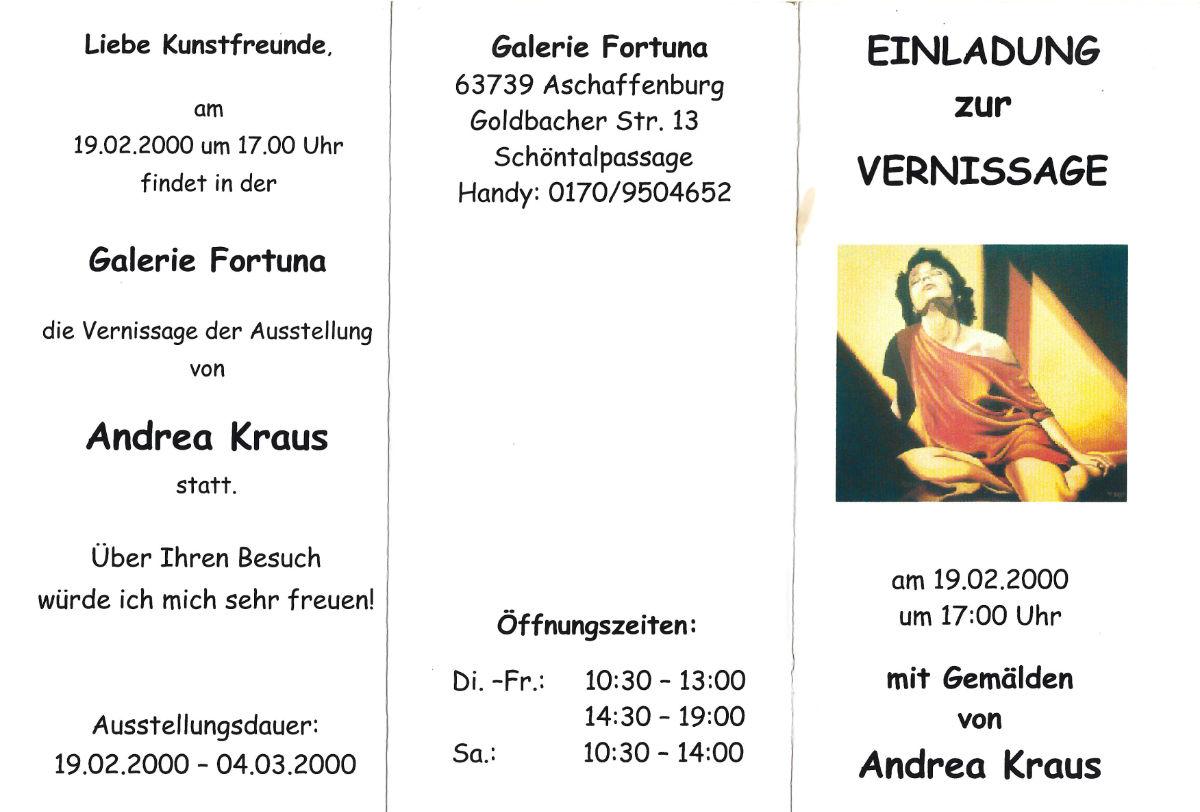 Einladung zur Vernissage von Andrea Kraus (19.02.2000)