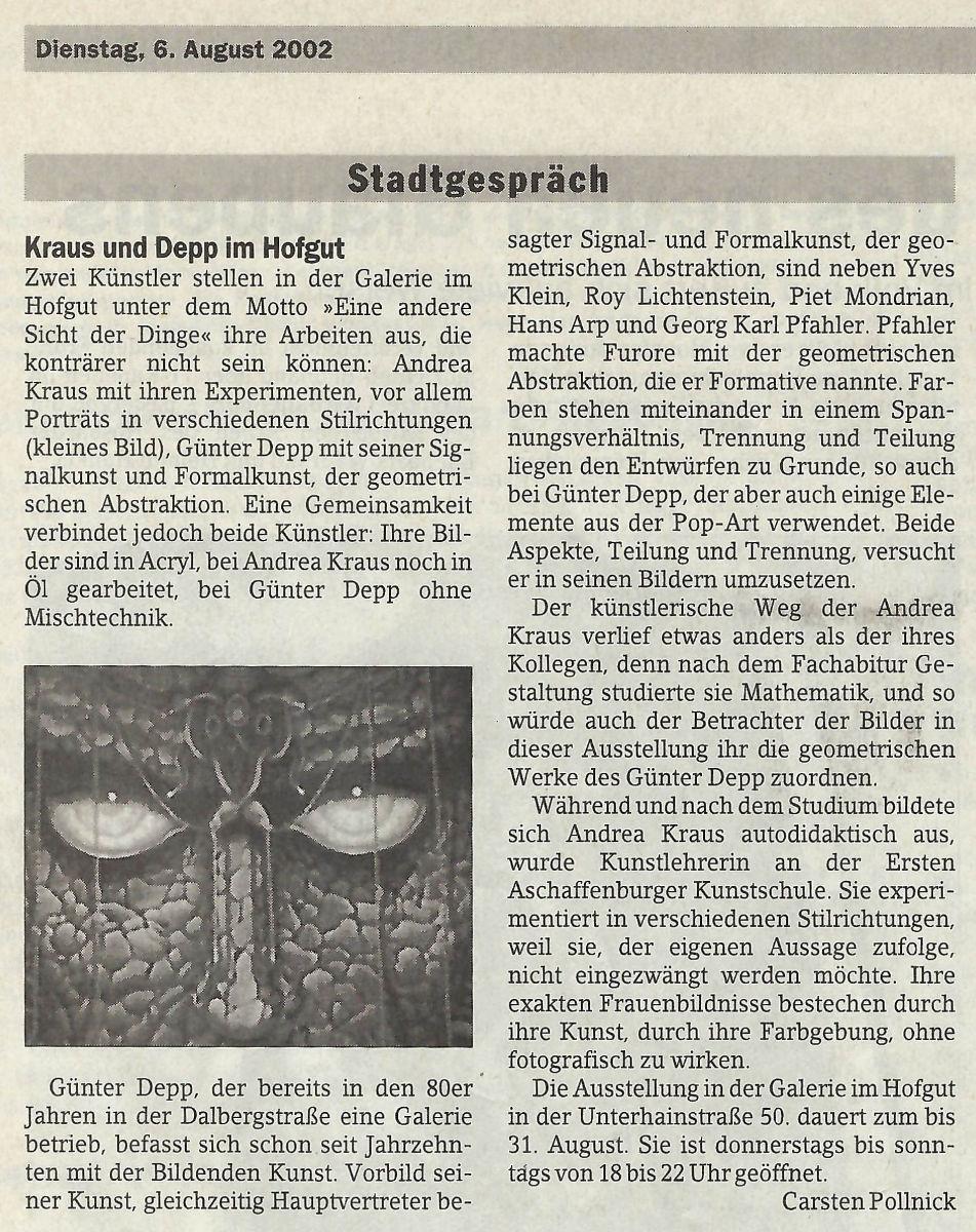 Andrea Kraus und Günter Depp im Stadtgespräch (Main Echo / 06.08.2002)