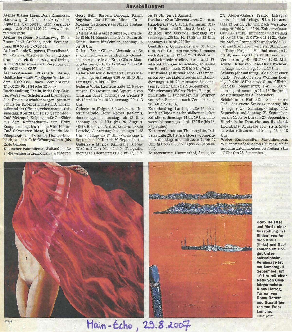 """Veranstaltungskalender Main Echo für Ausstellung """"ROT"""" (Andrea Kraus - 29.08.2007)"""