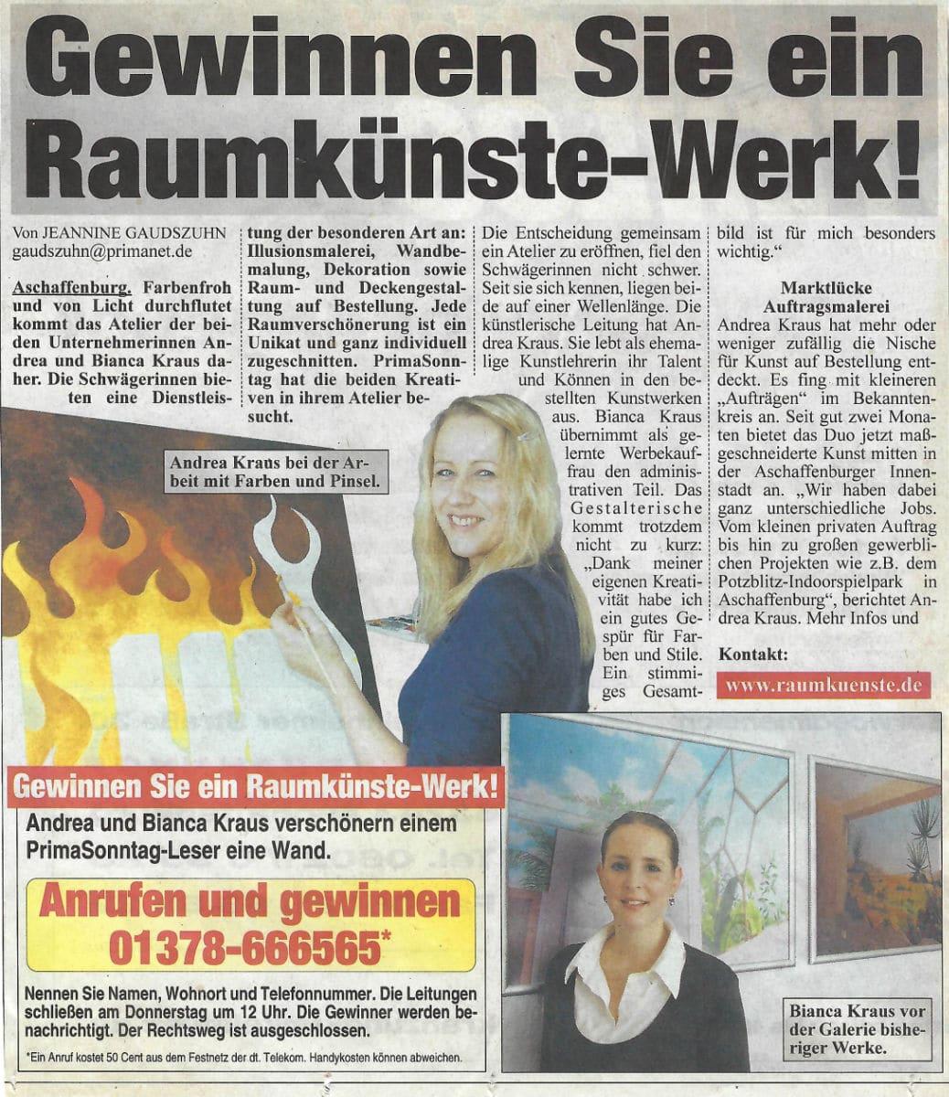 Gewinnspiel Raumkünste Werk (undatiert / Andrea Kraus / Prima Sonntag)