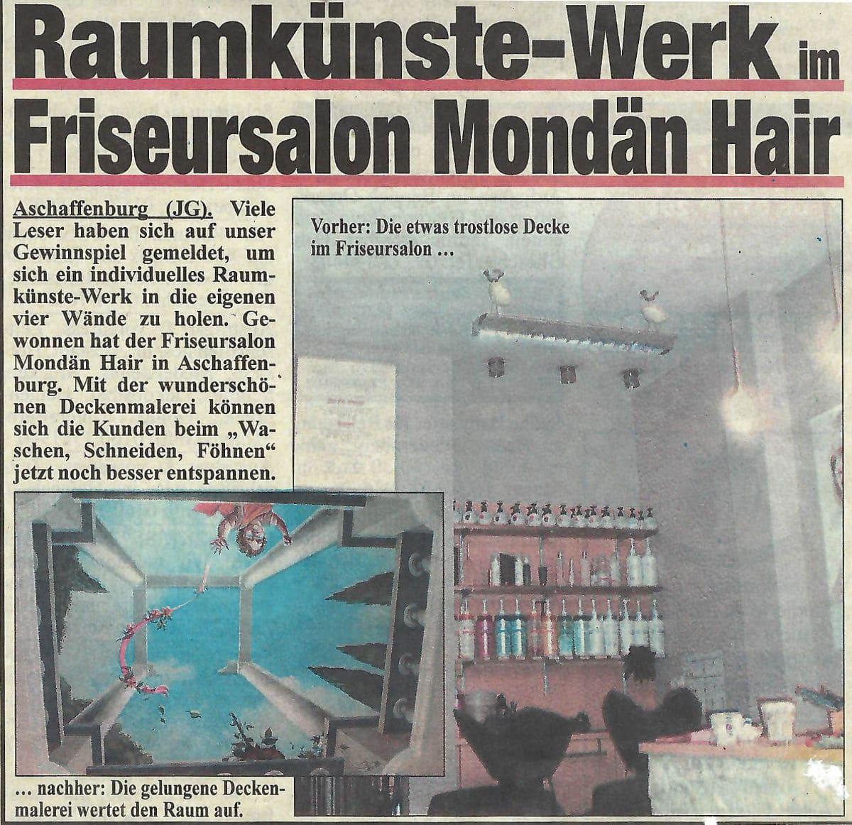Raumkünste Werk im Friseursalon Mondän Hair (Andrea Kraus / undatiert)